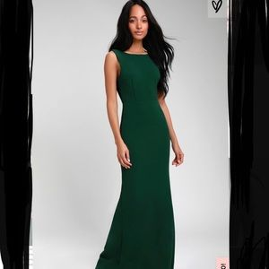 NWT LULUS Hunter Green Backless Gown